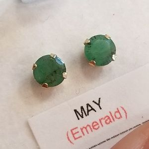 14K Gold Genuine Emerald Earrings Solid Gold